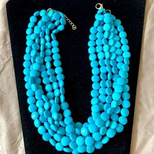 Necklace w/Turquoise 6 strand flat beads stainless